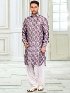 An elegant Cotton Silk fabric Multicolored Pathani kurta is available with contrast White Voile fabric bottom. It is decorated with fancy buttons. Pathani For Men, Pathani Kurta, Cotton Silk Fabric, Fancy Buttons, Occasion Wear, Dapper, Men Casual, Menswear, Suits