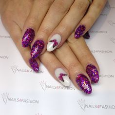 Pink purple glitter glamour butterfy nails