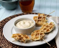 Crunchy Chicken Stuffed Waffles Pops & Maple Dijon Dip recipe, an appetizer and snack that is a twist on the chicken and waffles recipe. Fun food on a stick!