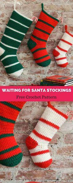 Ideas Crochet Socks Pattern Beginner Link For 2019 Crochet Christmas Stocking Pattern, Crochet Stocking, Holiday Crochet, Crochet Christmas Stockings, Crochet Ornaments, Crochet Snowflakes, Crochet Baby, Free Crochet, Santa Stocking