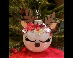 Hand-crafted Rudolph the red nosed reindeer ornament! 🦌 Great addition to your Christmas tree or as a gift Crafty Christmas Gifts, Snowman Christmas Decorations, Christmas Crafts To Sell, Reindeer Ornaments, Christmas Ornament Crafts, Christmas Baubles, Christmas Projects, Handmade Christmas, Holiday Crafts