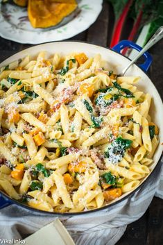 This Roasted Squash, Pancetta and Swiss Chard Penne is the best and the most delicious use of seasonal vegetables that the whole family will love!