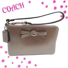 """NWT. Coach Gunmetal Turnlock Zip Wristlet Beautiful Pewter color called Gunmetal is the Coach name. This sweet wristlet is Patent Leather. The inside is is fabric lining, inside multifunctional pocket. Comes with care card and Beautiful Coach Gift Box. 6.5x4"""" Coach Bags Clutches & Wristlets"""