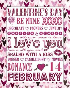 Smile Like You Mean it: Free Valentine's Day Subway Art Printable