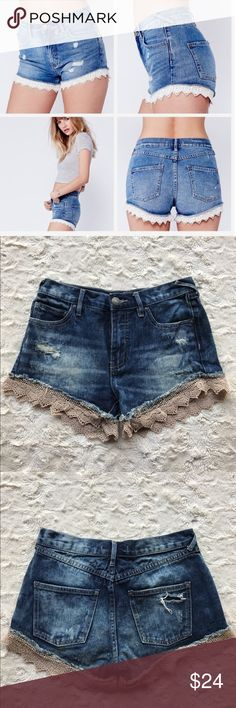 Free People Denim Crochet Shorts Free People Distressed 5-pocket crochet shorts! Great condition! Free People Shorts Jean Shorts