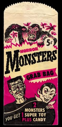 "Vintage Halloween trick or treat bag: ""Horror Monsters Grab Bag - You get 2 monsters super toy plus candy! Retro Halloween, Vintage Halloween Images, Halloween Goodies, Halloween Signs, Halloween Horror, Vintage Holiday, Holidays Halloween, Happy Halloween, Vintage Fall"