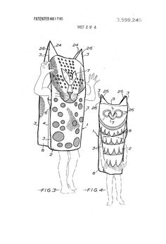 """United States patent for Playsack wearable paper costume, described as """"[a]rtistic or fancy wearing material,"""" made of flame retardant durable paper, with Trendon Ltd. listed as assignee (with rights licensed to Creative Playthings for import and distribution in the United States), United Kingdom, 1971, by Fredun Shapur."""