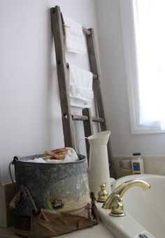 old ladder and old apple bucket