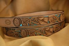 Customer wanted a full filigree belt with a turquoise background; So this is what he's gettin. 4oz. Herman Oak on top, 3oz. metalic inner, and a 4oz. liner...