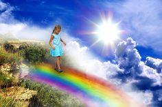 Girl walking rainbow