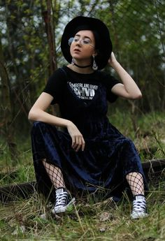 Black choker with velvet dress, earrings, round hat, fishnet tights & vans shoes by ev_daily