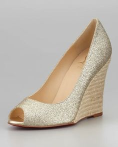 Wedding wedges: Christian Louboutin Puglia glitter espadrilles
