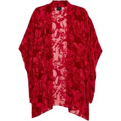 Anna Sui Devoré-velvet jacket ($435) ❤ liked on Polyvore featuring outerwear, jackets, cardigans, kimonos, coats, red, kimono jacket, open front jacket, velvet kimono et velvet jacket