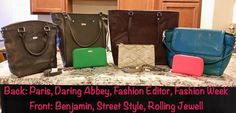 Paris in city charcoal snake, Daring Abbey in City Charcoal Snake, Fashion Editor in Jewells & Gems Pebble, Fashion Week in Teal Affair Vintage Pebble, All About the Benjamins in Gatsby's green pebble, street style in putty snake and Rolling Jewell in coral kisses pebble.  #jewellbythirtyone