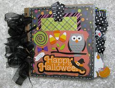 """6x6 """"Halloween"""" Premade Scrapbook Pages Paper Bag Album Holds 30 Pictures 
