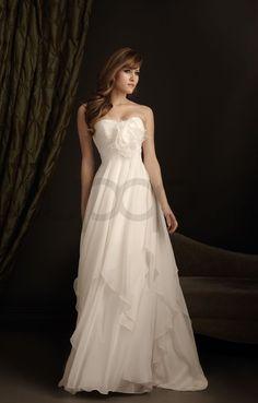 A-line Chiffon Ruched Empire Bodice Sweetheart Neckline Sweep Train Wedding Dresses (2407) - Bupop.com