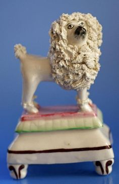 Staffordshire Pottery Figure Poodle Dog Antique