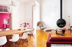 Contemporânea e cheia de estilo... Adorei a cozinha pink!