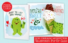 Ice Cream Monster Valentine's Pop-Up Card free download by Scout Creative