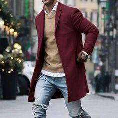 Autumn Winter Mens Fleece Blends Jacket Male Overcoat Casual Solid Slim Collar Coats Long Cotton Trench Coat Streetwear Size S Color Khaki Swag Style, Style Casual, Men Casual, Style Men, Men's Style, Casual Suit, Casual Blazer, Casual Jeans, Casual Shoes