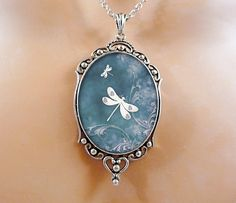 Dragonfly Necklace Blue Jewelry Wearable Art by Crystalyte925, $30.00