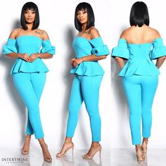 NEW INWe are in love with MADLY IN LOVE  PEPLUM TWO PIECE SET - TEAL. This outfit will make you want to bring out your ChicTHIS FABRIC IS AMAZING STRETCH Model wearing a Medium!  Hurry shop this NEW ARRIVAL NOW! #intertwinecollection