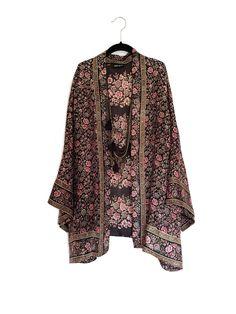 Silk Kimono jacket / cover up in navy and pink | Kimonos, Jackets ...