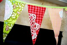 Dollar store doily pennant. Fun birthday party decor. #crafts