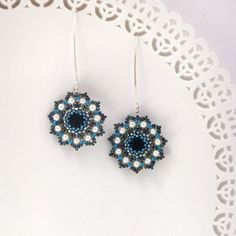 Long Blue Flower Earrings, Unique Handmade beaded with swarovski elements, Miyuky beads and  silver