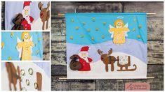 """Nähe den Adventskalender """"Nikolaus und seine Freunde"""" von shesmile, an dem du 24 Geschenke hängen kannst Projects To Try, Kids Rugs, Home Decor, Band, Design, Sewing Patterns, Decoration Home, Sash, Kid Friendly Rugs"""