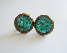 Turquoise Stud Earrings  - Crushed Raw Gemstones - December Birthstone