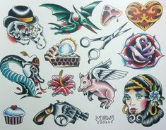 Miscellaneous III Neo-Traditional Tattoo Flash Sheet by DerekBWard