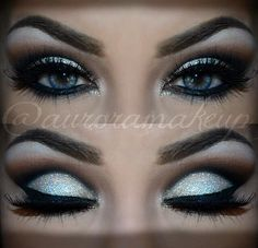 Glitters on top of cream eye shadow adds dimension. This dramatic cut crease is perfect for formal looks. Recreate this look with the must have products here. Not sure if this would look as good with my hazel eyes instead of the striking blue, though. Makeup Goals, Makeup Inspo, Makeup Inspiration, Makeup Tips, Beauty Makeup, Makeup Ideas, Hair Beauty, Formal Makeup, Prom Makeup