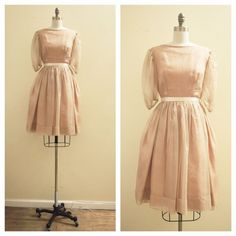 Vintage 1950's Silk Organza Nude/Tan and Blush party dress with puff sleeves