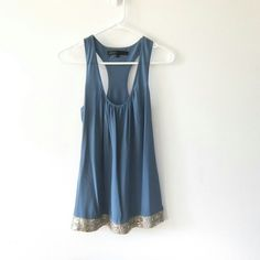 Akiko Silk Sequined Tank Dusty blue with stunning silver sequin detail. The sequins are metal. Akiko Tops Tank Tops