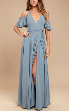 Easy Listening Slate Blue Off The Shoulder Wrap Maxi Dress via @bestmaxidress