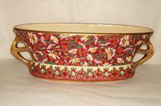 Grande Jardinière ou Rafraichissoir | émaux sur fond rouge, bordure et anses dorées, décoré a la main signé : Émaux De Longwy France.