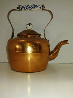 Vintage Large Copper TeaPot W/ Blue & White Ceramic Handle  Portugal