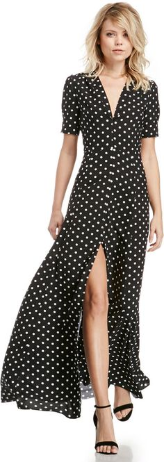 DAILYLOOK Sultry Polka Dot Maxi Dress in Black / White XS - L on shopstyle.com