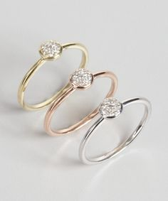 Elements by KC Designs set of 3 - stackable micro diamond flower rings   BLUEFLY up to 70% off designer brands