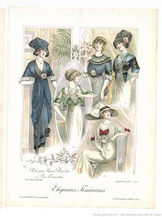 From Élégances féminines. Revue mensuelle de la grande couture parisienne 1912. Dresses by Marie Bardin