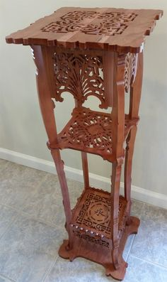 Italian pedestal table, scroll saw fretwork pattern