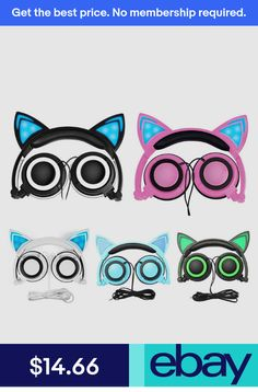 b15d417ed43 Cat Ear Headphones Foldable Over Ear Earphone with LED Flash light V1X3