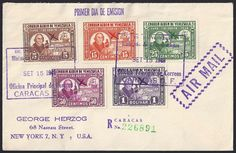 Venezuela Scott #C278, C280-83 (15 Sep 1949) Christopher Columbus, native, galleon. Registered First Day Cover with Scott #C279 missing …as it was issued in 1948. Stamps commemorate the 450th Anniversary (in 1948) of Columbus' Discovery of the American mainland (Venezuela). Descubrimiento de tierra firme americana (Discovery of an American continent).