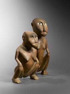 Couple accroupi - Micronésie - Oceania art Océanie