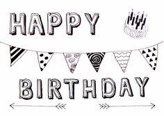 Afbeeldingsresultaat voor handlettering kaarten verjaardag Handlettering Happy Birthday, Diy Birthday, Birthday Cards, Art Party, Brush Lettering, Diy Cards, Doodle Art, Doodles, Calligraphy
