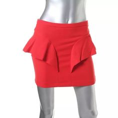 NWTZara Red Peplum Above Knee A-Line Skirt Manufacturer: Zara  Size: S Size Origin: US Manufacturer Color: Red Condition: New with tags Style Type: A-Line Collection: Zara Bottom Closure: Hidden Back Zipper Length: Above Knee Total Skirt Length: 15 Inches Waist Across: 13 1/2 Inches Hips Across: 16 Inches Material: 63% Polyester/32% Viscose/5% Elastane Fabric Type: Polyester Specialty: Peplum Zara Skirts