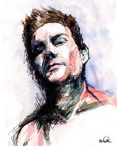Self portrait in watercolor.