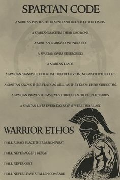 – Spartan Code English – Warrior Poster – Spartan Code Englisch – Warrior Poster This image has get. Wisdom Quotes, Me Quotes, Motivational Quotes, Inspirational Quotes, Warrior Spirit, Warrior Quotes, Spartan Quotes, Samurai Quotes, Spartan Tattoo