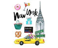 Arte de Nueva York Nueva York Ilustración impresión de arte